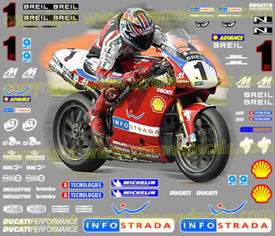 2002 Ducati 998 Infostrada - Blue Race Decal Kit