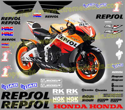2007 Repsol Honda Race Decal Set 48 decals Hayden