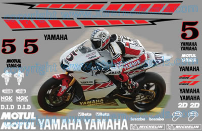 Yamaha Valencia Race Decal Set 2005 Colin Edwards