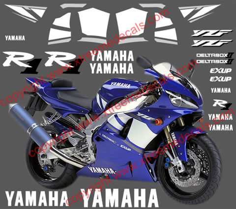 Yamaha R1 Graphics and Decal set for 2001 blue bike