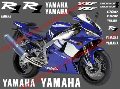 Yamaha R1 2001 Blue Bike Model Decal set