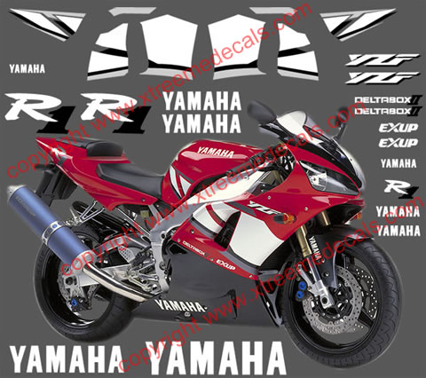 Yamaha R1 Graphics and Decal set for 2001 red bike