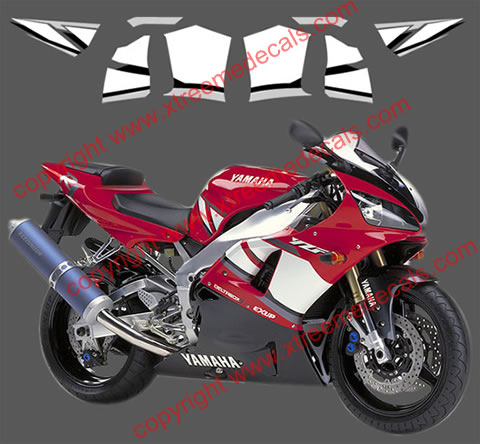 Yamaha YZF-R1 Graphics set for 2001 red bike