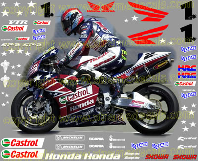 Castrol honda VTR1000 Race Decal Set 2002 Style