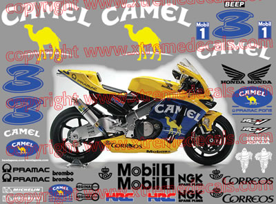 Honda Camel MotoGP 2003 Race Decal Set