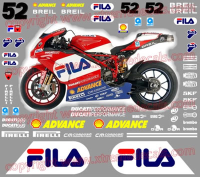 Ducati 2004 999 Fila Race Decal kit