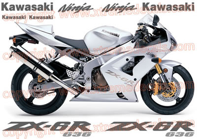 Kawasaki ZX-6R 2004 Silver Bike Decal Set