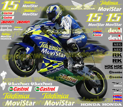2004 Honda Telefonica Movistar Race Decal Set