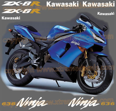Kawasaki ZX6r 636 2005 Decal Set Blue Bike