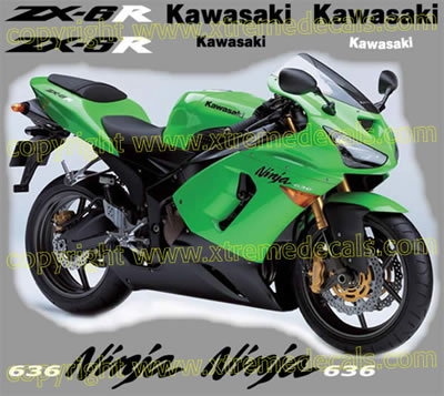 Kawasaki ZX6r 636 2005 Decal Set Green Bike