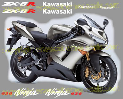 Kawasaki ZX-6R 636 2005 Decal Set Silver Bike