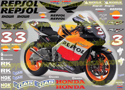 2005 Repsol Honda Race Decal Set 47 decals