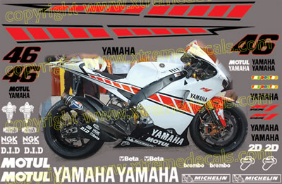 Yamaha Valencia Race Decal Set 2005