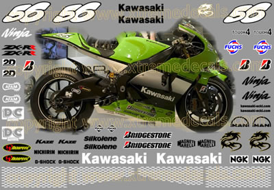 Kawasaki ZX-RR Ninja Race Decal Set  2005 Style