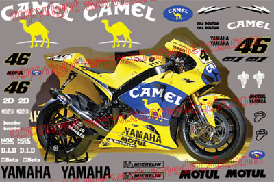 Yamaha R1 and R6  2006 Camel Race Decal Set