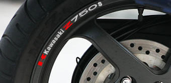Kawasaki Z750s Rim Decal set