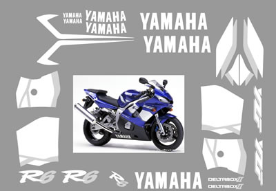 Yamaha R6 2001 Fairing graphics and Decals blue bike both sides